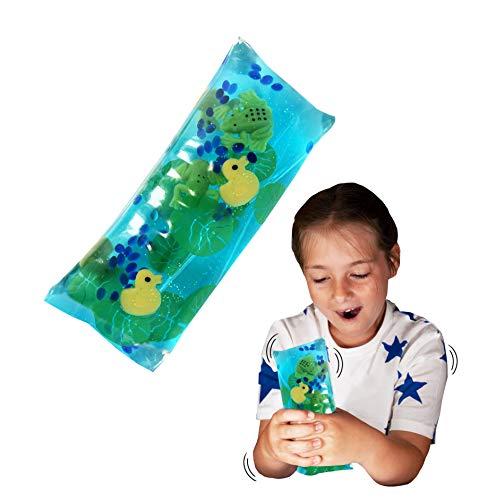 Wiggly Jiggly - Estanque de Deluxebase. Juguete de Serpiente de Agua Grande y súper Blando con Figuras de Patos y Ranas. Juguetes sensoriales Ideales para el Autismo y el TDAH