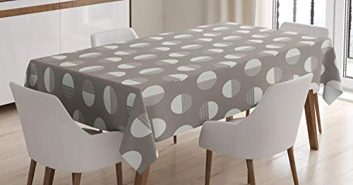 Ambesonne Geometric Tablecloth, Bold Monochrome Concentric Circles and Zigzags Forming Bigger Circles, Rectangular Table Cover for Dining Room Kitchen Decor, 60' X 84', Coconut Dimgrey