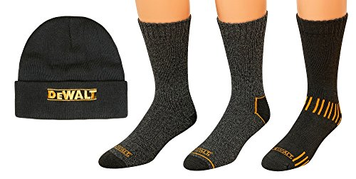 DeWALT 3 Pair Everyday Cotton Blend Work Crew Socks and Fleece Hat Set,10-13