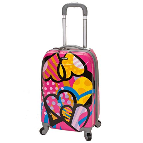 Sale!! DSOS Girls Cute Pink Hearts Carry Suitcase Hardtop Blue Heart Themed Luggage