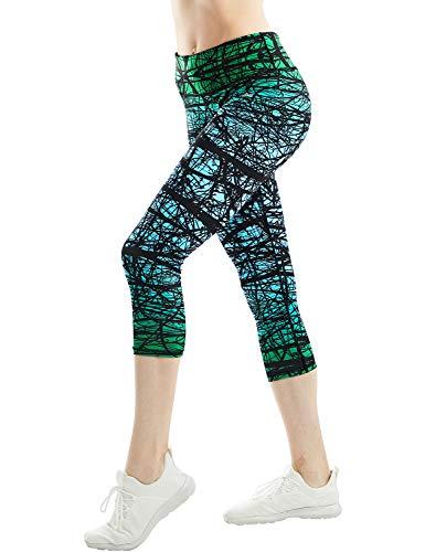 COOLOMG Damen Sport Leggings 3/4 Yoga Hose Jogginghose Workout Fitness Caprihose Printed S-XL (Large, GB-Grün (capri))