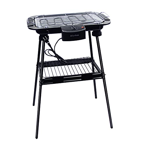 Aliyoham Electric Grill Outdoor/Indoor Electric BBQ Grill, Non-stick Plate Smokeless with...