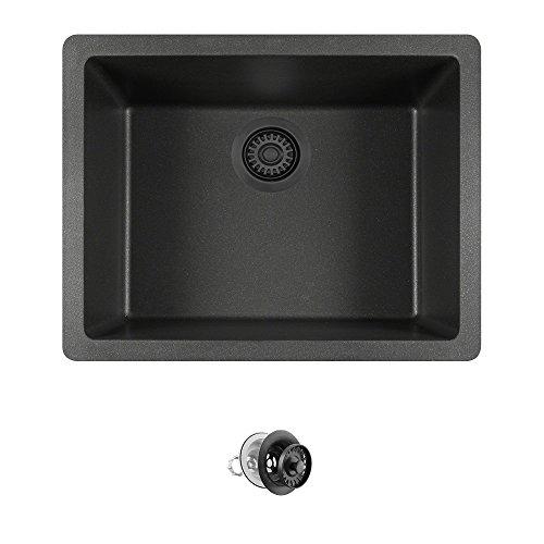 808 Dual-mount Single Bowl Quartz Kitchen Sink, Black, Colored Strainer