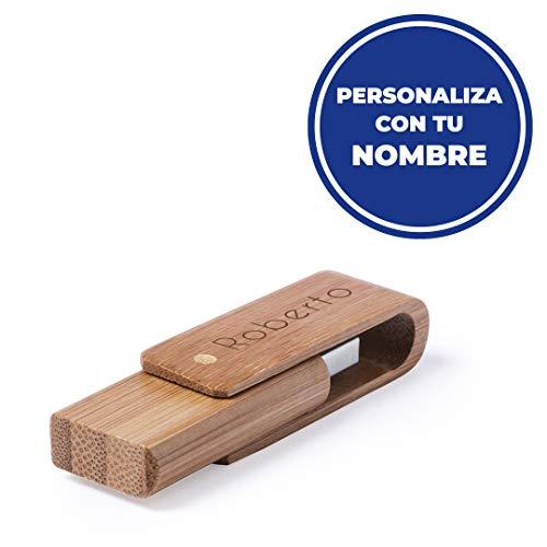 Memoria USB 16 GB de bambú Personalizado con Nombre o Texto. Ideal para Regalar