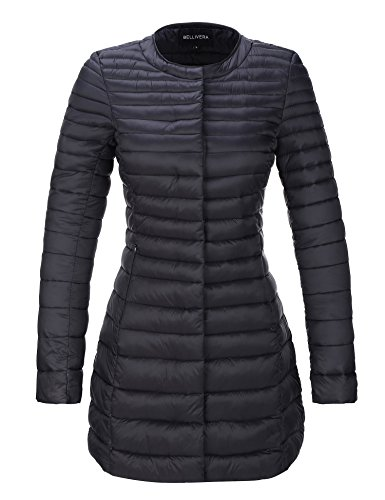 Bellivera Women's Quilted Lightweight Padding Jacket, Puffer Coat Jackets Women Bubble for Fall and Winter 7148 Black L