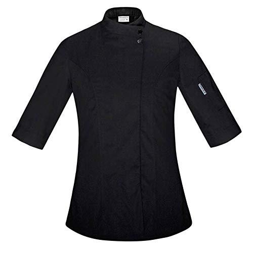 Food Chef Küchenjacke Weiß Hotel Uniform Sommer Restaurant Kellner Arbeitskleidung Kleidung Damen Küchenjacke,Black,XXL