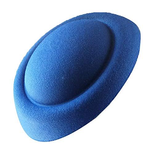Vintage Baskenmütze, kleiner Hut, DIY Handwerk, langlebig, tragbar, exquisite Verarbeitung, einzigartige Baskenmütze für Damen, Haarspange, Fascinator Basis, Filz, Hostess Pillbox Hut Free Size blau