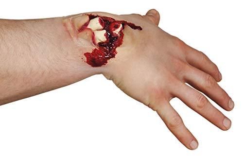 Ferita finta adesiva Doppia Frattura con ossa esposte e sangue in lattice