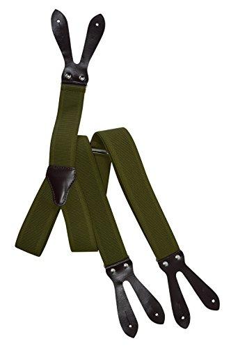 Hosenträger mit Knopfloch und Echt Lederriemen im Dunkelbraun - 3.5cm. Olivgrün