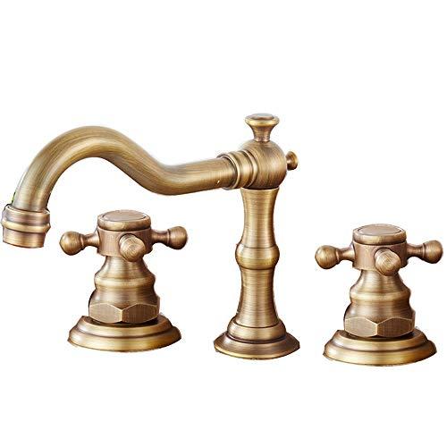 Grifo de cobre antiguo de 3 agujeros para bañera de agua caliente y fría para baño, grifo de cocina, baño, lavabo, lavabo