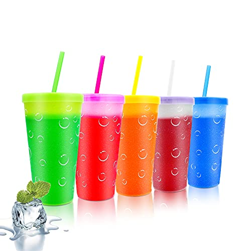 CINSEER Color Changing Cups 22oz Reusable Plastic Cold Drink Cups with Lids and Straws BPA Free Adult Kids Summer Coffee Tumblers Party Cup 5PACK