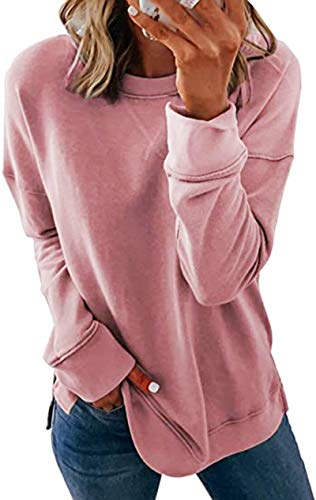 Smile Fish Women Long SleeveSolid Color Sweatshirt Side Split Jumper Warm...