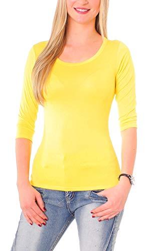 Easy Young Fashion Damen Basic Shirt 3/4 Arm Longsleeve Langarmshirt Stretch T-Shirt Unterhemd Rundhals-Ausschnitt Gelb M 38