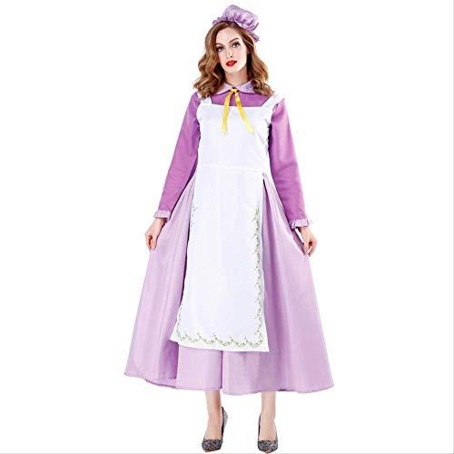WSJDE Falda de mucama púrpura Mujeres Castillo mágico Disfraz de Halloween ama de casa Vestido de mucama Cosplay de Hadas Vestido púrpura M