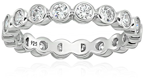 Platinum-Plated Sterling Silver Swarovski Zirconia Round Bezel set All-Around Band Ring, Size 8