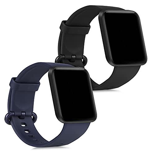 kwmobile 2X Pulsera Compatible con Xiaomi Mi Watch Lite/Redmi Watch - Brazalete de Silicona Negro/Azul Oscuro sin Fitness Tracker