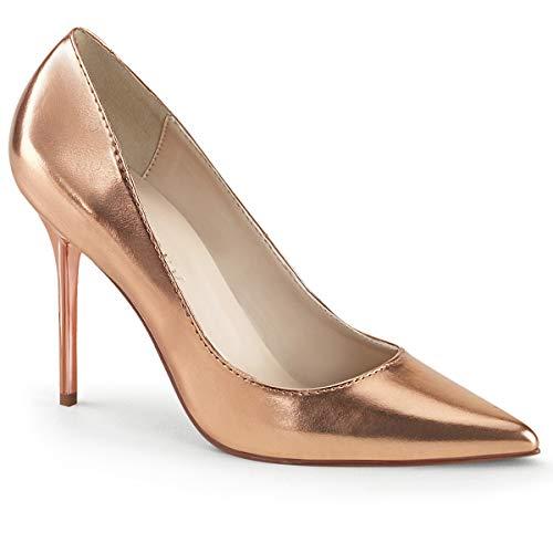 Scarpe Donna Decollete Decolte Sexy Tacco Alto Eleganti Oro Pleaser CLASSIQUE-20, 40