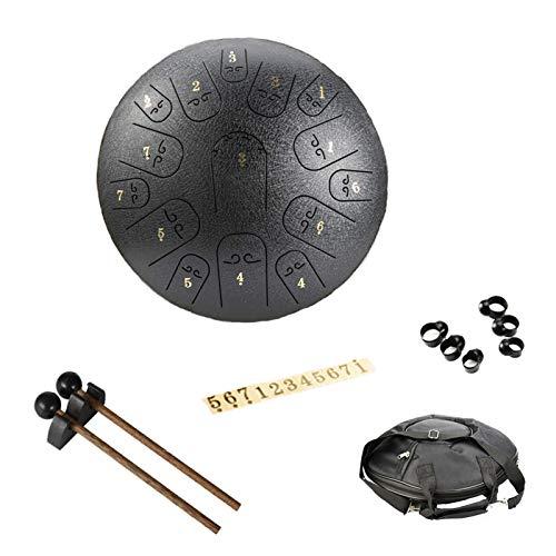 14 Zoll 15 Tone Zungentrommel Ätherische Trommel,handpan Percussion Instrument,Stahl Zunge Schlagzeuger Scheibentrommel mit Schlägel Reisetasche für Zen Meditation Yoga Musiktherapie (Black)
