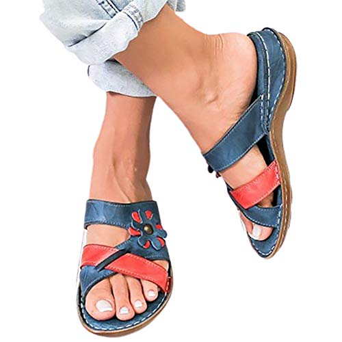 XXZ Sandalias de Mujer para Mujer cómodas Zapatillas de Verano Deslizamiento Zapatos de Caminar Casuales Zapatos de Viaje,1 Red,38