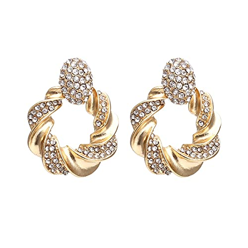 Anillo de aleación con incrustaciones de diamantes pendientes de metal geométrico