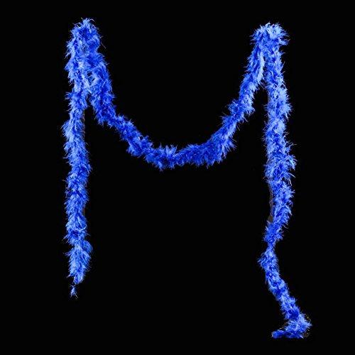XHXseller Federbesatz, weich und flauschig, Marabu- und Straußenfedern, Boa-Fellschal, für Partys, Burlesque-Tanzen, Kostüme, Kostüme, blau, 2 m