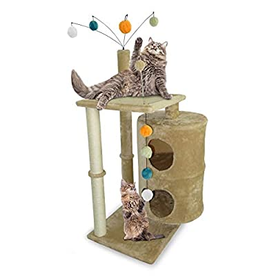 Furhaven Pet Cat Tree - Tiger Tough Cat Tree House Condo Entertainment Playground Furniture for Cats and Kittens, Cat Table Playground, Cream