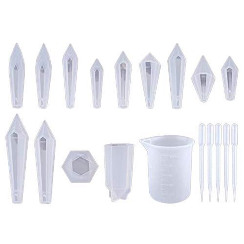 GREEN&RARE 1 juego de moldes de resina epoxi de cristal para manualidades, molde de silicona de fundición de péndulo para pendientes, collares, colgantes, herramientas de fabricación de joyas.
