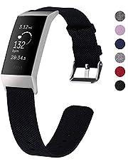 XIHAMA Reservearmband voor Fitbit Charge 3, geweven stof, snelspanner, fitnesstraining, sportarmband voor dames en heren