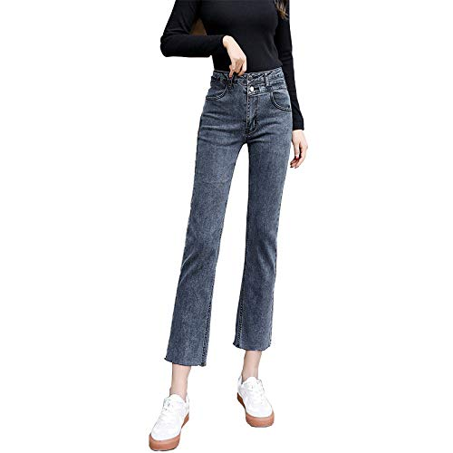 XACXYDP Ladies Jeans Hohe Taille War DüNn Und Vielseitig Casual Straight Cropped Pants