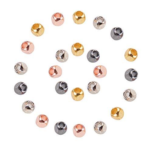 PandaHall Elite 120 Teile/schachtel Cube Messing Spacer Perlen mit Großes Loch für DIY Schmuckherstellung, 3x3x3mm, Loch: 2mm, 4 Mischfarben