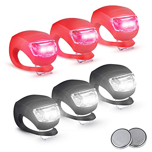 6 Pezzi Set Luci per Biciclette 3 Modalià, Impermeabili Luce per Bici a LED in Silicone 2 Batterie Extra Incluse Luci Bicicletta LED luci LED per Bicicletta Luce Bici Anteriore e Posteriore luci Bici