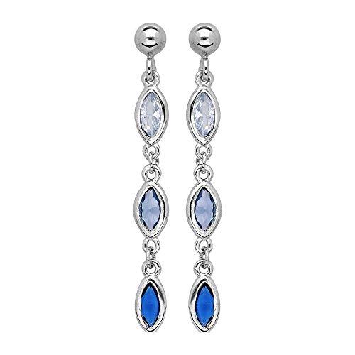 Boucles d'oreilles tige argent rhodié (Argent 925‰ + protection Rhodium) 3 oxydes sertis dégradé de bleu et blanc + écrin (offert) + Certificat d'Authenticité Argent 925‰