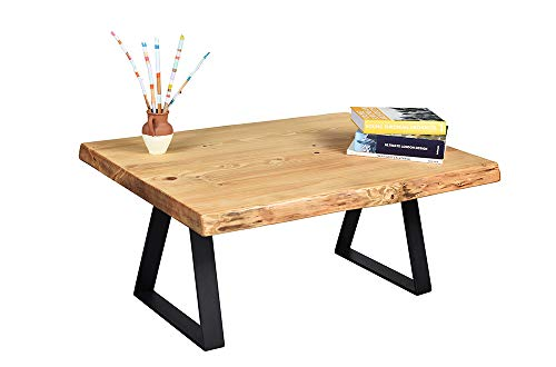 Gozos Berne Massive Couchtisch (95x65) Massivholz | Beistelltisch Landhausstil Echtebaumkante 50mm Tischplatte