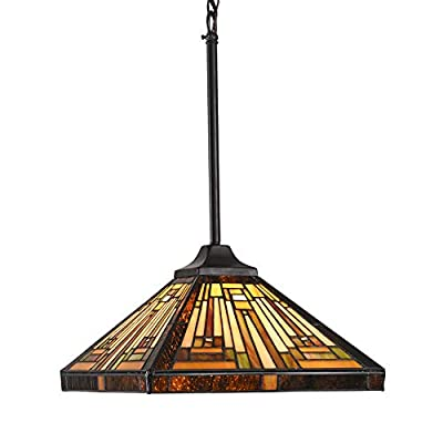 Capulina Tiffany Style Kitchen Lighting, 1-Light Stained Glass Lighting Fixtures, 12 inch Wide Lampshade Mini Pendant Light, Mission Style Kitchen Island Lighting, Tiffany Hanging Pendant Light