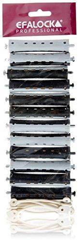 Efalock Professional Kaltwellwickler 2-Farbig, 16 mm, grau/ schwarz, 1er Pack, (1x 12 Stück)