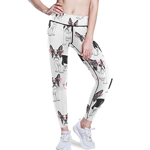 French Bulldog With Pink Glasses On White Stretchy High Waist Yoga Pants, Women Tummy Control Leggings with Hidden Pockets, Workout Sports Running Athletic Tights(XXL)
