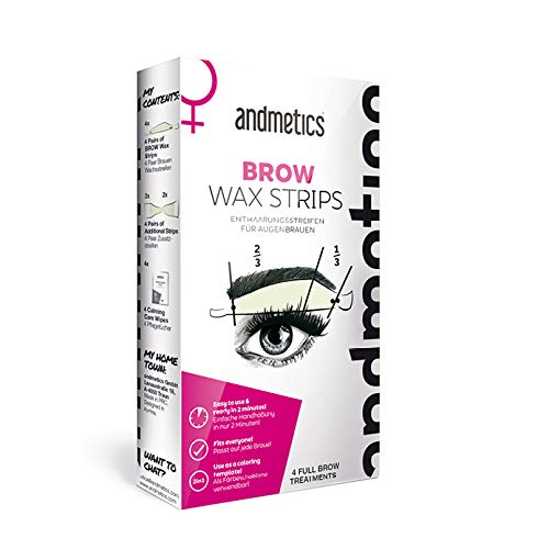 andmetics BROW wax strips: patentierte Augenbrauen Kaltwachs Enthaarung Streifen, perfekte Form zum...