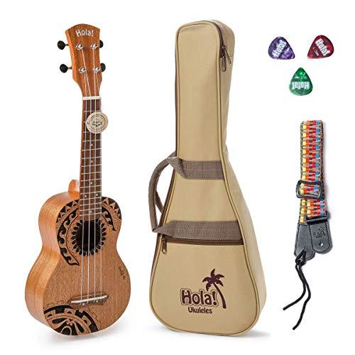 Hola! Music HM-121TT+ Laser Engraved Mahogany Soprano Ukulele Bundle with Aquila Strings, Padded Gig Bag, Strap and Picks - Tribal Tattoo
