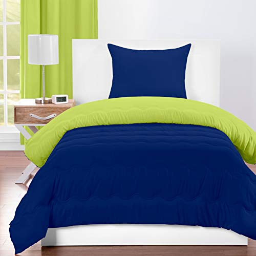 Crayola Spring Green and Blue Berry Blue Reversible 3-Piece Comforter Set Twin 2 Piece