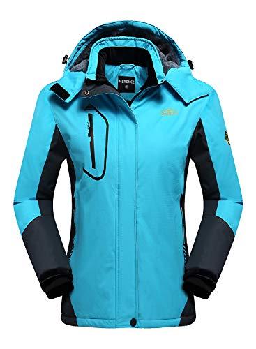 Women's Mountain Waterproof Ski Jacket Windproof Rain Jacket U420WCFY029,Blue,XL