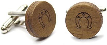 Gemelli in legno Horseshoe (ferro di cavallo). Collezione moda uomo: bottoni di camicia in noce fatti a mano. Matrimonio...