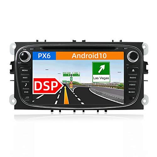 JOYX PX6 Android 10 Autoradio Passt für Ford Focus/Mondeo/S-Max/C-Max/Galaxy - DSP Eingebauter - 2 Din - Canbus Kamera KOSTENLOS - 4G+64G - 7 Zoll - MIT 4G WiFi BT5.0 DAB HDMI 4K-Video AHD-Kamera SWC