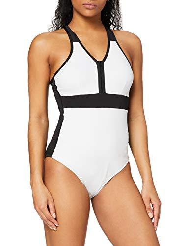 Amazon-Marke: AURIQUE Damen Sport-Monokini, Weiß (Weiß/Schwarz), XS, Label:XS