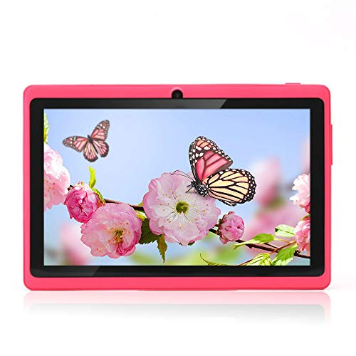 Haehne 7 Pollici Tablet PC, Google Android 4.4 Quad Core, 512MB RAM 8GB ROM, Doppia Fotocamera, WiFi, Bluetooth, per Bambini e Adulti, Rosa