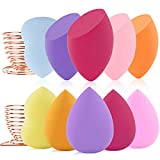 Makeup Sponges Blender Set Beauty Foundation Blending Egg Stand, Cosmetics Sponge Blender Applicators for Powder Cream or Liquid, 10pcs Beauty sponges mini Latex Free and 2pc Makeup Sponges Holders