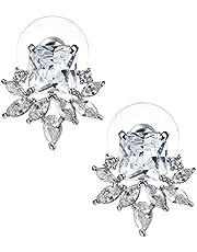 SWEETV CZ kluster brud bröllop örhängen, kristallörhängen för kvinnor flickor