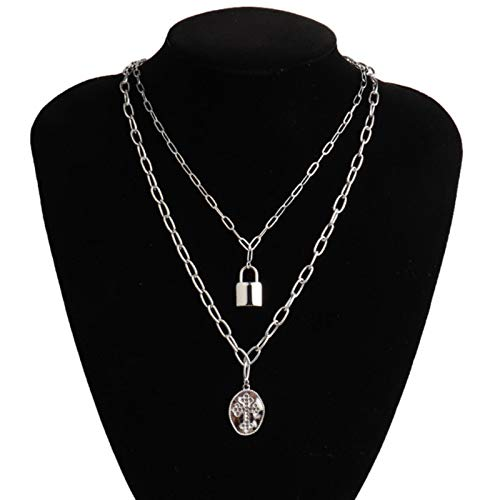 Women's Stainless Steel Necklace Multiple Necklace Thick Chain Necklace Coin Lock Pendant Necklace For Women Necklace Jewelry