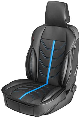Walser Autositzauflage Kimi, Universelle Sitzauflage und Schutzunterlage in schwarz - blau, Sitzschoner für Pkw und LKW in Rennsportoptik