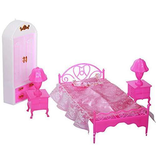 YUIP 6 sztuk akcesoriów do mebli księżniczki, 1 x szafa na ubrania + 1 x poduszka + 1 x prześcieradło (purpurowe lub różowe losowe) + 1 x rama łóżka + 2 x lampka biurkowa, do domku dla lalek, prezent dla dzieci