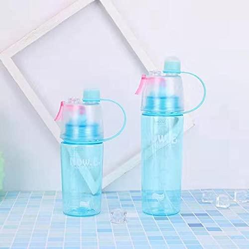 FISISZ Borraccia Sportiva Nebulizzazione Creativa all'aperto con Tazza Portatile a Prova di perdite Bottiglia di plastica per Bicicletta Paglia da Palestra-0.4L, Blu